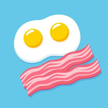 Cartoon fried eggs and bacon on blue background. Traditional breakfast vector clip art illustration.
