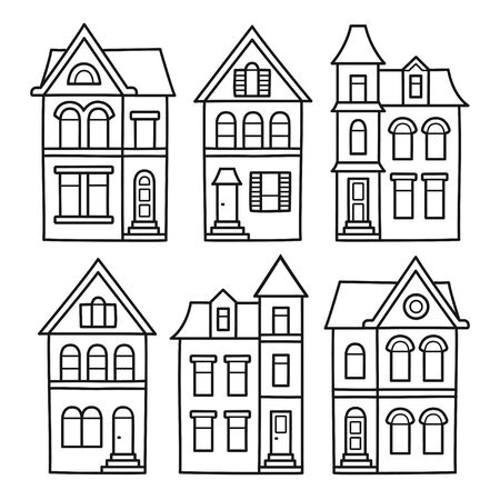 Old Victorian style houses, vector illustration set. Hand drawn architecture contour drawing for coloring pages. Illusztráció