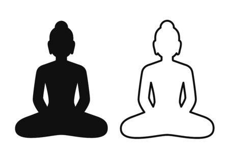 Simple and minimal icon of Buddha statue sitting in lotus pose. Black and white silhouette and line art drawing, isolated vector symbol. Mindfulness and meditation clip art illustration.
