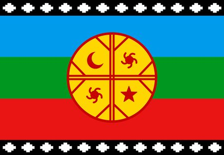 Mapuche flag, emblem of the Mapuche Nation in Chile and Argentina, symbol of Chilean protests. Vector design illustration.