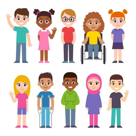 Cute cartoon group of children. Diversity and inclusion clip art illustration set. Kids of different cultures and skin color, disabled child. Vetores