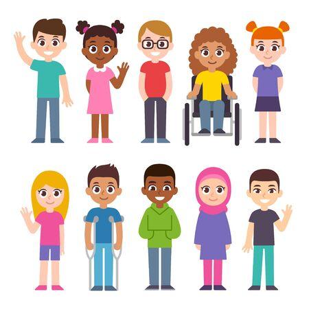 Leuke tekenfilmgroep kinderen. Diversiteit en inclusie illustraties illustratie set. Kinderen van verschillende culturen en huidskleur, gehandicapt kind. Vector Illustratie
