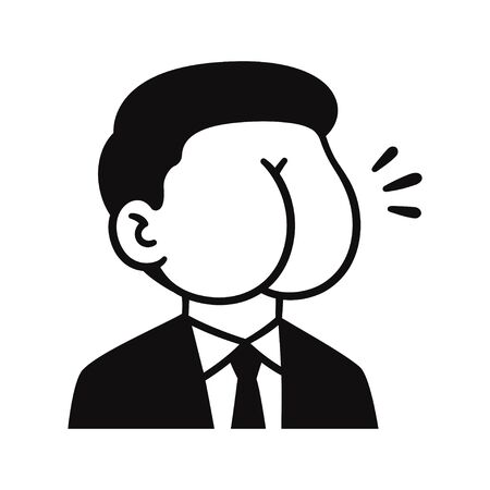 Butt face man in suit, politician caricature. Portrait doodle drawing with ass for head. Isolated vector clip art illustration.