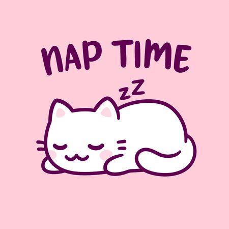 Cute cartoon cat sleeping with text Nap Time. Adorable kawaii kitty hand drawn doodle. Isolated vector clip art illustration.