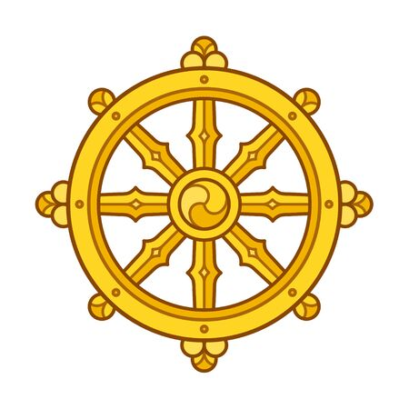 Dharmachakra (Dharma Wheel) symbol in Buddhism. Golden wheel sign art. Isolated vector illustration.  イラスト・ベクター素材