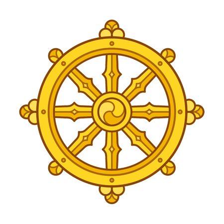 Symbole du Dharmachakra (Roue du Dharma) dans le bouddhisme. Art de signe de roue d'or. Illustration vectorielle isolée. Vecteurs