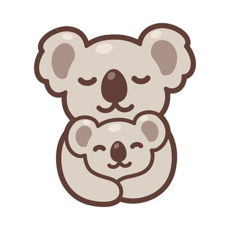 Cute cartoon koala mom hugging baby cub, sweet koalas family drawing. Simple vector clip art illustration, kawaii mascot or logo.