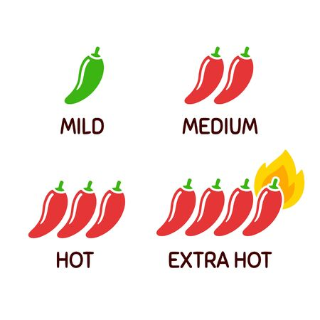 Hot chili peppers icon set. Level of spicy from mild to extra hot with fire flame. Simple and cute cartoon vector clip art illustration.