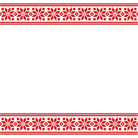 Ethnic Slavic embroidery pattern border. Traditional geometric ornament template, red and white vector design.