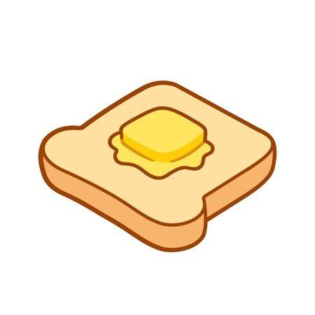 Toast with butter cartoon drawing. Traditional breakfast, buttered slice of bread. Isolated vector clip art illustration. Иллюстрация