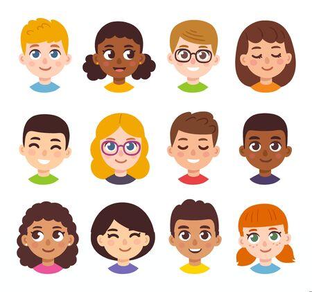 Zestaw awatarów dla dzieci kreskówka. Różnorodne twarze dzieci w prostym, ręcznie rysowanym stylu, ilustracja wektorowa clipart. Ilustracje wektorowe