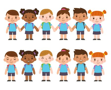 A set of six cute cartoon diverse children wearing school uniform with backpacks and holding hands. International group of kids, boys and girls. Isolated vector clip art illustration. Vettoriali