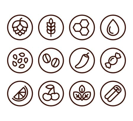 Beer ingredient labels icon set. Craft beer brewing spices and flavors. Simple line icons collection.