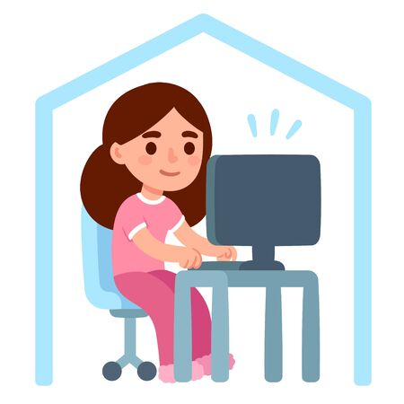 Cute cartoon girl in pajamas working from home. Remote work and telecommuting, or freelance job. Isolated vector clip art illustration in simple flat style.