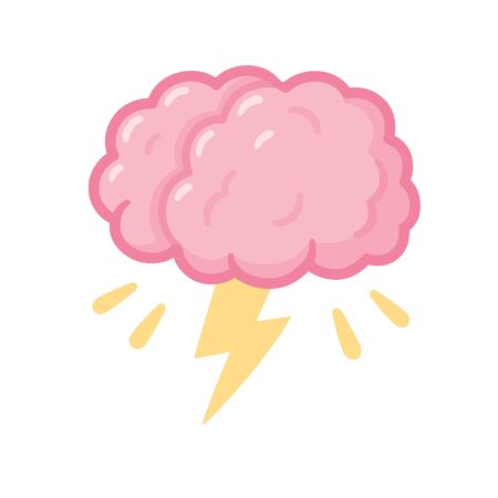 Brainstorm drawing, cartoon brain with storm lightning. Creative thinking and problem solving. Isolated vector clip art illustration.
