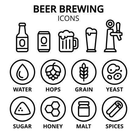 Beer brewing icon set. Beer making ingredients, glasses and containers. Simple line icons, vector illustration. Vettoriali