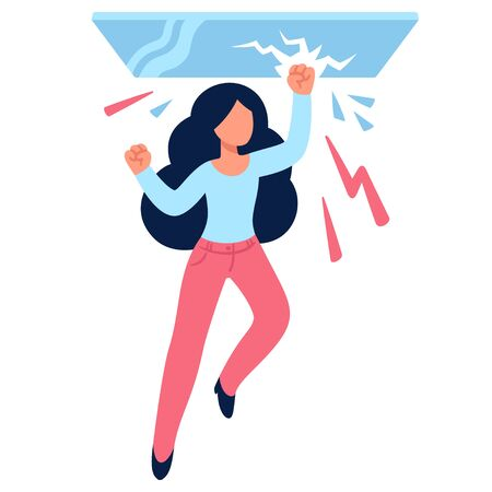Cartoon woman drawing breaking glass ceiling. Sexism issues in work culture. Simple flat vector style illustration.