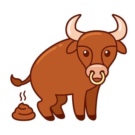 Funny cartoon bull pooping, bullshit illustration. Isolated clip art, vector drawing.