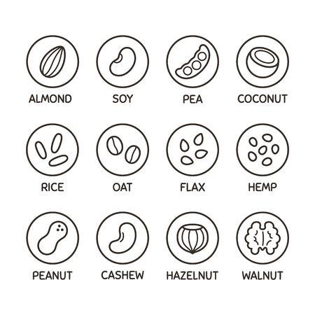 Pflanzenbasierte Milchalternative-Icon-Set. Nuss- und Samenmilch, Bohnen und Körner. Etiketten für milchfreie Getränke, Vektorsymbole. Vektorgrafik