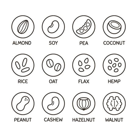 Plant based milk alternative icon set. Nut and seed milk, beans and grains. Labels for non-dairy beverages, vector symbols. Ilustración de vector