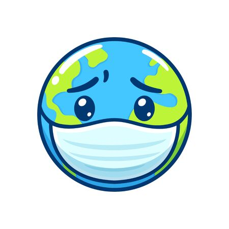Sick Earth in face mask with worried face. Disease pandemic and global health crisis, cute cartoon drawing. Isolated vector clip art illustration.