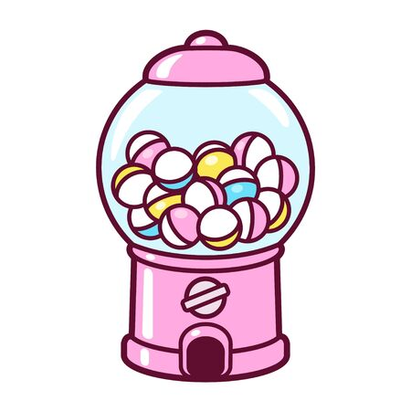 Cute cartoon gashapon, capsule vending machine. Pink Japanese collectible toy dispenser, vector clip art illustration.