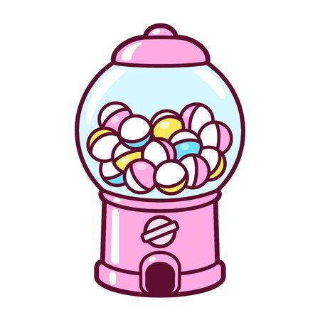 Gashapon mignon de bande dessinée, distributeur automatique de capsule. Distributeur de jouets à collectionner japonais rose, illustration vectorielle clip art.