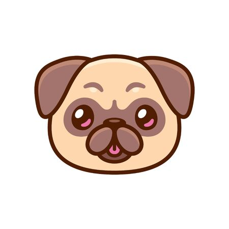 Cute cartoon pug face with tongue sticking out. Kawaii dog portrait drawing, vector clip art illustration. Illustration