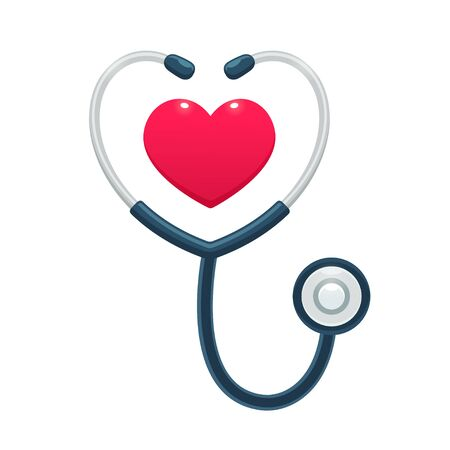 Medical stethoscope with heart icon. Health care and medicine worker symbol, isolated vector illustration.