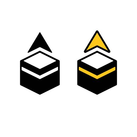 Qibla, Muslim prayer direction. Simple pictogram icon of Kaaba in Mecca with pointing arrow. Black and white and golden color vector pictogram.