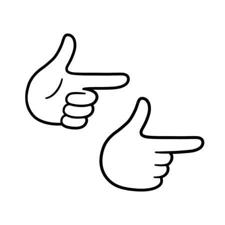 Cartoon hand gesture showing finger guns. Simple black and white comic drawing. Isolated vector illustration.