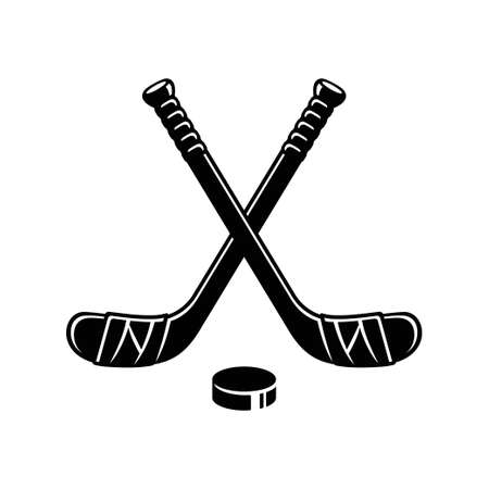 Ice hockey logo, two crossed hockey sticks and puck. Minimal silhouette, simple black and white vector clip art illustration.