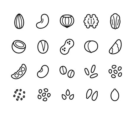 Nuts, seeds, grains and legumes line icon set. Plant based diet ingredients, non-dairy milk symbols. Illustration