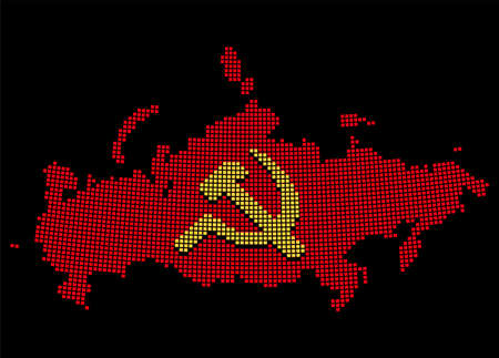 Stylized USSR map with hammer and sickle, communist Russia symbol. Pixel art style silhouette. Isolated vector illustration.