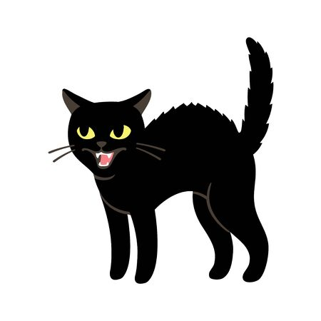 Angry black cat hissing and threatening with arched back and fur standing up. Simple cartoon drawing, isolated vector clip art illustration.
