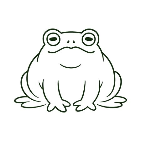 Cartoon toad, black and white line drawing. Funny toad sitting. Isolated vector clip art illustration.