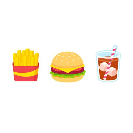 Cartoon fast food icon set. French fries, burger and glass of soda drink. Simple and colorful vector clip art illustration.