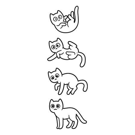 Cute cartoon cat falling and landing on all four paws. Adorable black and white kitty drawing. Isolated vector clip art illustration.