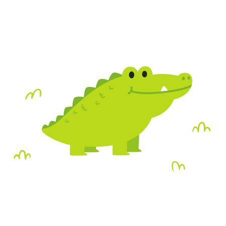 Cute cartoon chubby alligator or crocodile in simple flat cartoon style. Funny clip art illustration for kids. Isolated vector clip art drawing.