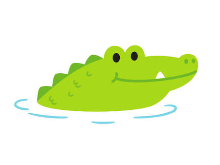 Cute cartoon alligator or crocodile sticking head out of water. Funny clip art illustration in simple flat cartoon style. Isolated vector clip art drawing.