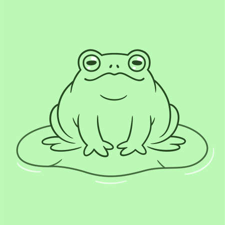 Cartoon toad drawing. Funny toad sitting on lily pad. Cute and simple vector clip art illustration.