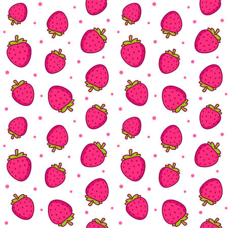 Cute cartoon strawberry pattern. Seamless texture of strawberries and pink polka dots on white background. Vector clip art illustration. Illustration