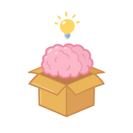 Thinking outside the box concept. Brain out of cardboard box with lightbulb. Creative idea clip art illustration, isolated vector drawing. Illustration