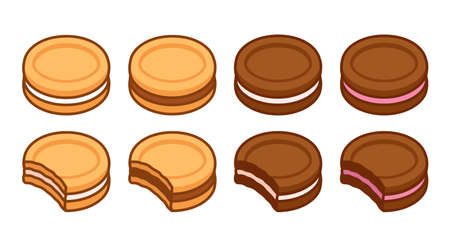 Set of sandwich cookies, vanilla and chocolate, with different filling. Bite showing cross section. Simple cartoon vector illustration.