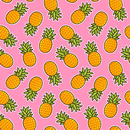 Pineapple seamless pattern. Hand drawn cartoon pineapples on pink background. Bright summer texture.