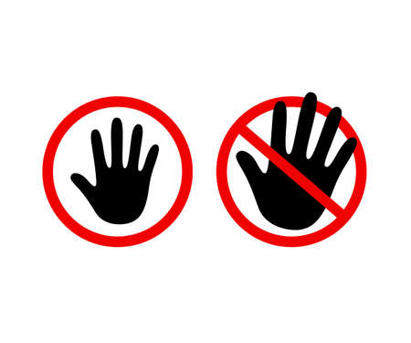 Hand outline icon, stop sign, do not touch. Black human palm silhouette in red circle and crossed, vector illustration set. Illustration