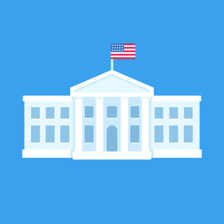 White House in Washington DC, official residence of the president of the United States. Flat vector illustration, simple cartoon style clip art. Illustration