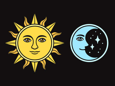 Sun and moon with face, vintage style drawing on black background. Isolated vector illustration of antique celestial symbols.