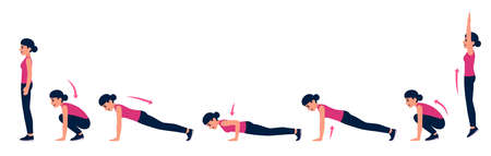 Woman doing burpee workout with pushup, step by step exercise instruction. Cartoon vector illustration. Illustration