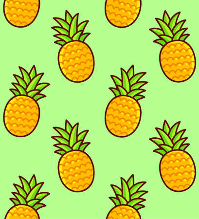 Pineapple seamless pattern. Hand drawn cartoon pineapples on green background. Bright summer texture.